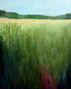 Bridgette Guerzon Mills : Green Meadow, contemporary oil landscape painting
