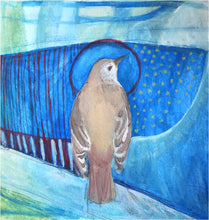 Load image into Gallery viewer, Bridgette Guerzon Mills: No. 96 Hermit Thrush, matted gouache painting
