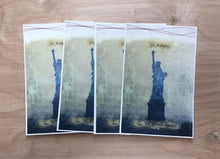"Load image into Gallery viewer, Set of 4 postcards of original mixed media piece ""Beloved Community"""