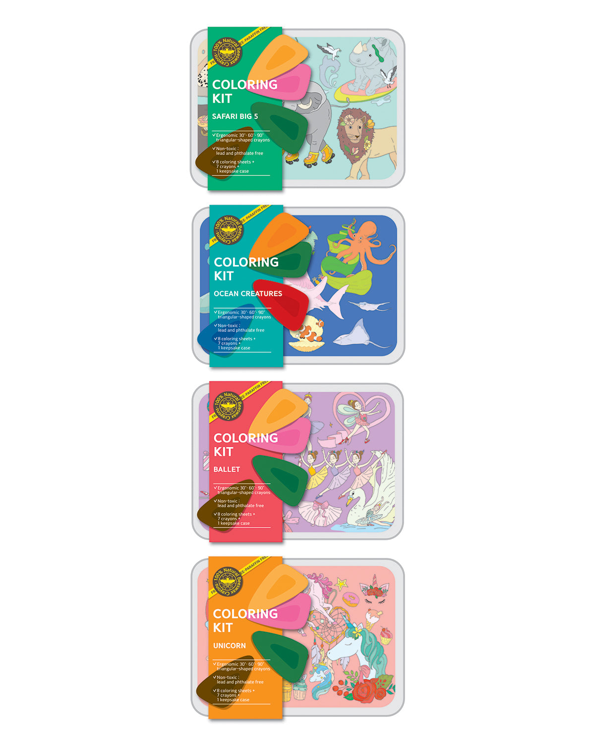 Coloring Kit Set SAFARI + OCEAN + BALLERINA + UNICORN Small