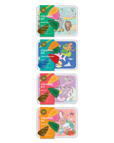 COLOR JEUColoring Kit Set SAFARI + OCEAN + BALLERINA + UNICORN Small