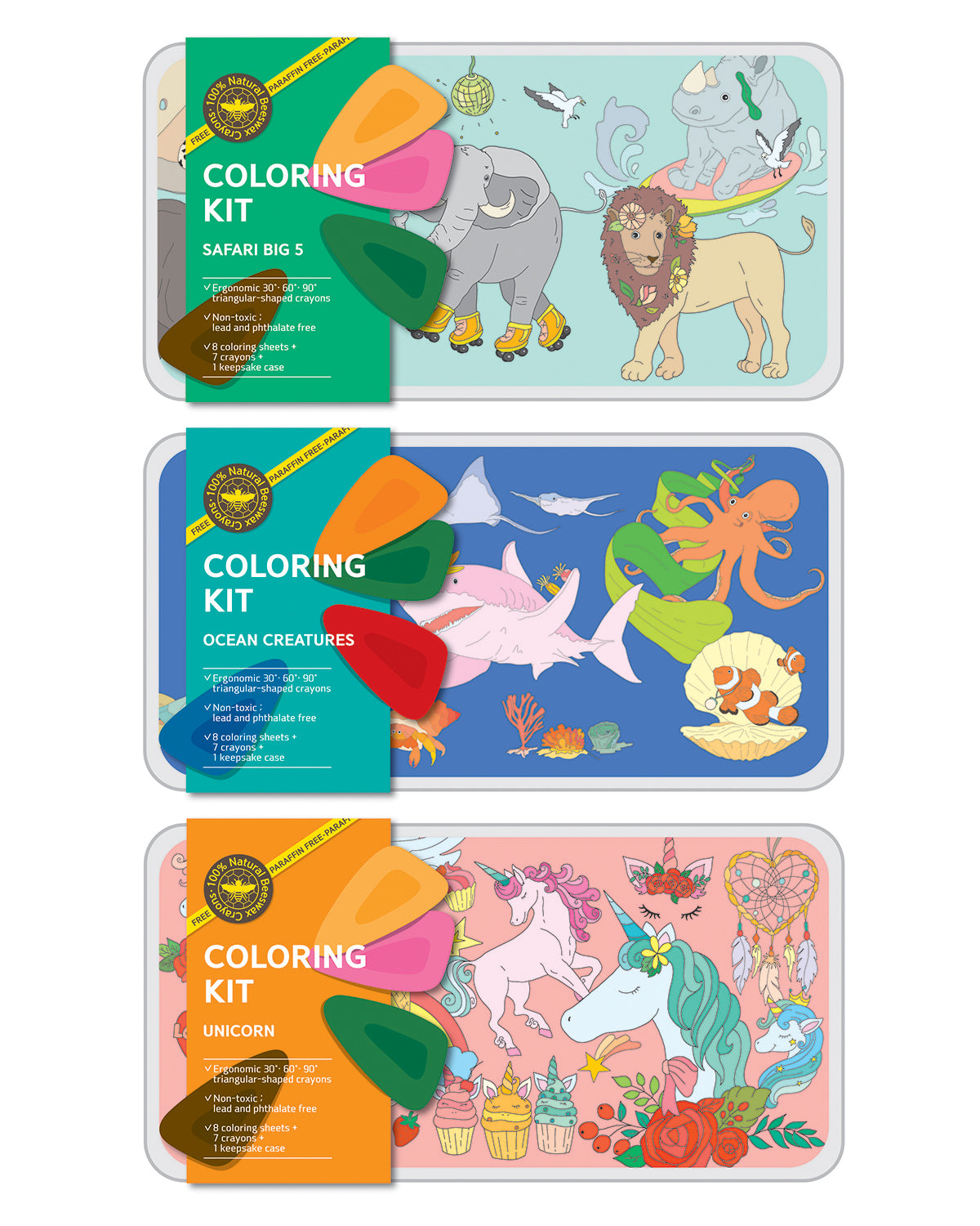 Coloring Kit Set SAFARI + OCEAN + UNICORN Large