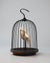 Bluetooth Speaker and Light white porcelain bird gold accents black cage and walnut color speaker base