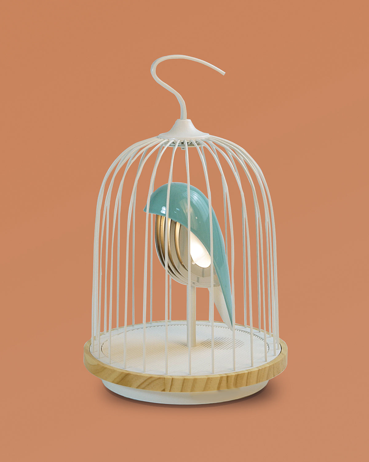 Bluetooth Speaker and Light turquoise color porcelain bird gold accents white cage and white color speaker base