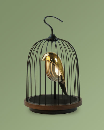 Bluetooth Speaker and Light gold porcelain bird gold accents black cage and walnut color speaker base