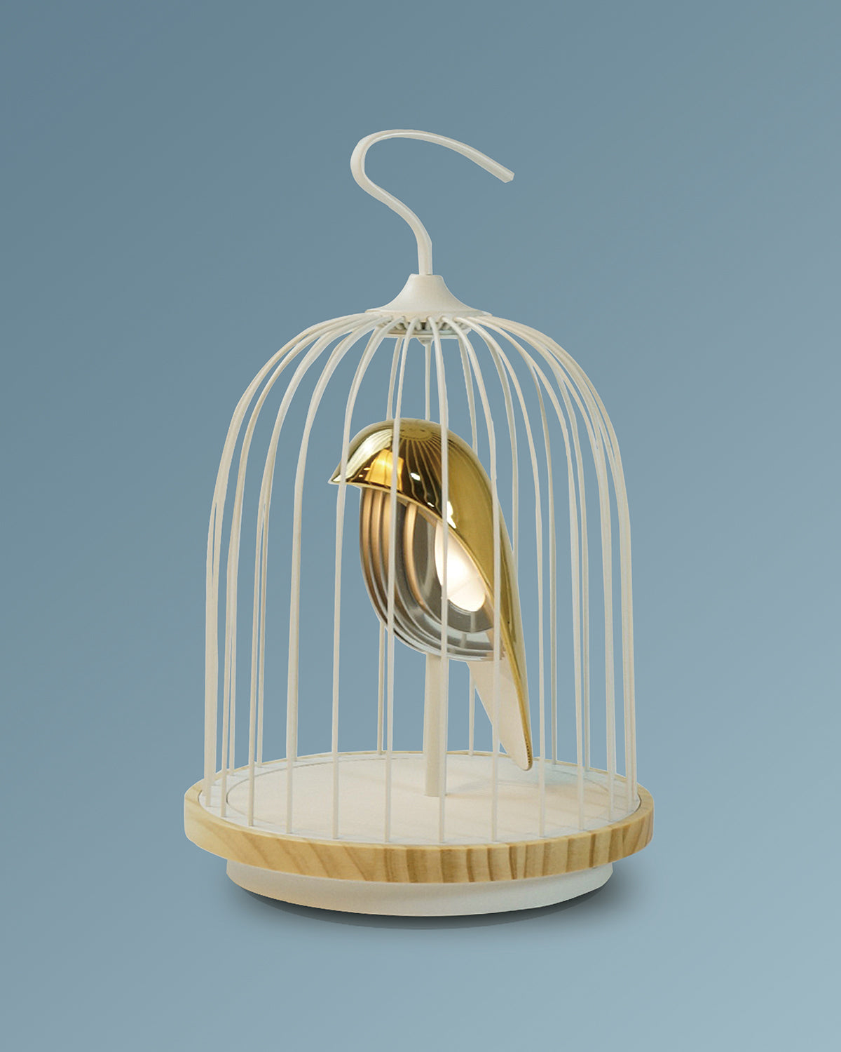 Bluetooth Speaker and Light gold porcelain bird gold accents white cage and white color speaker base