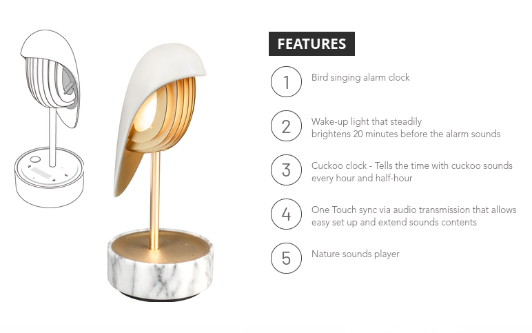 Alarm Clock + Light CHIRP WHITE MARBLE AND GOLD