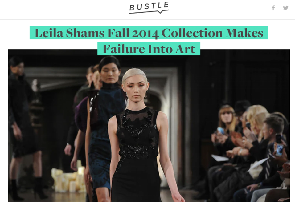 "<a href=""https://www.bustle.com/articles/15396-leila-shams-fall-2014-collection-makes-failure-into-art""> Fall 2014 Collection Makes Failure Into Art 