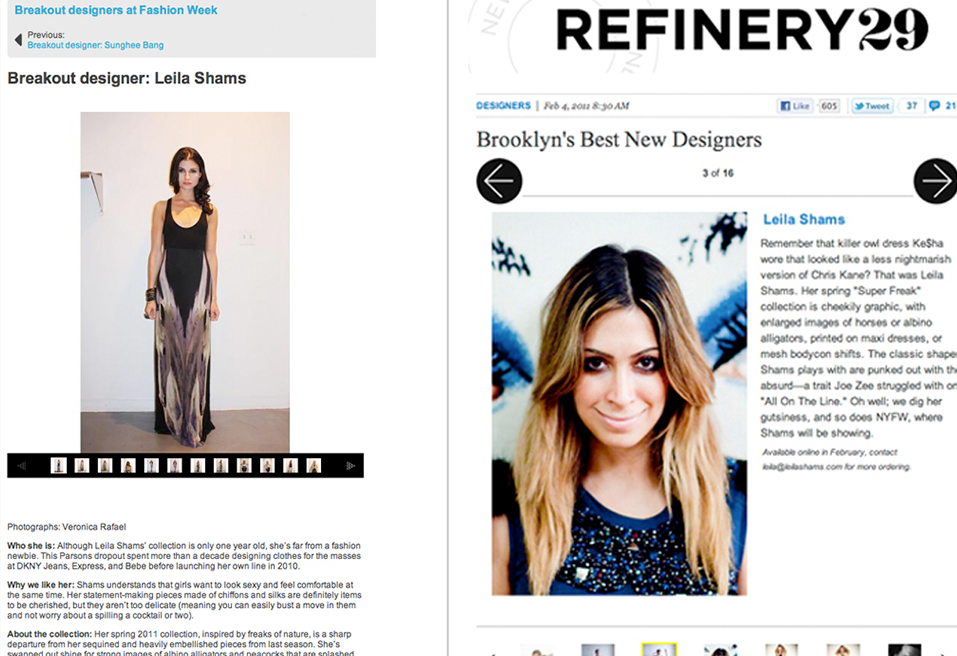 Refinery 29 | Leila Shams Interviewed as Upcoming Brooklyn Designer