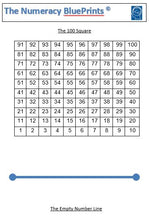 Load image into Gallery viewer, 19101B Numeracy BluePrints (Pack of 10) Version B 100 at TOP of 100 Square
