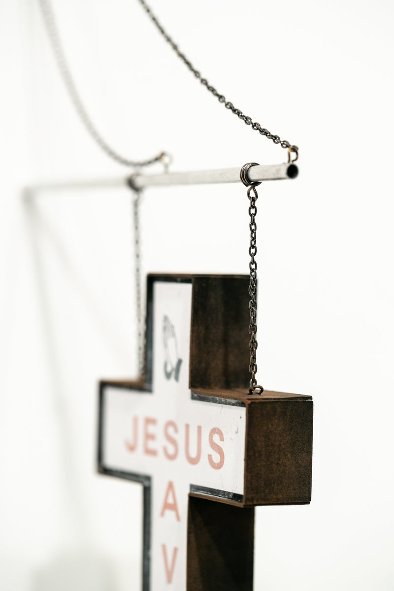 Jesus Saves (hanging sign red)