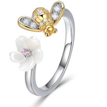 Load image into Gallery viewer, Honey Bee Flower Ring Sterling .925