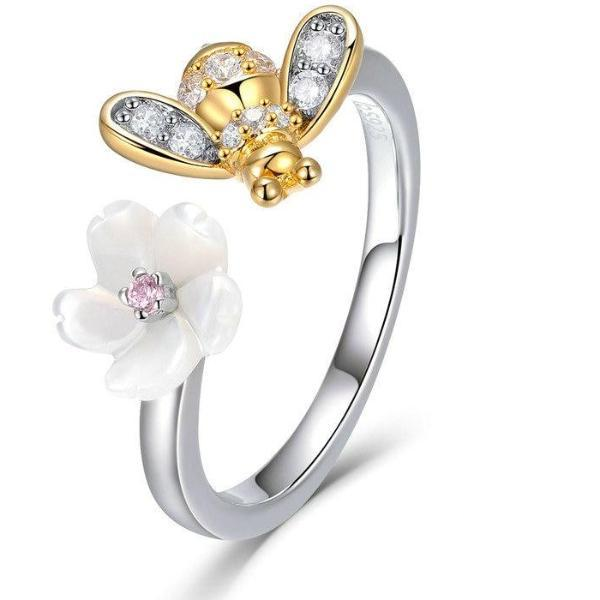 Honey Bee Flower Ring Sterling .925