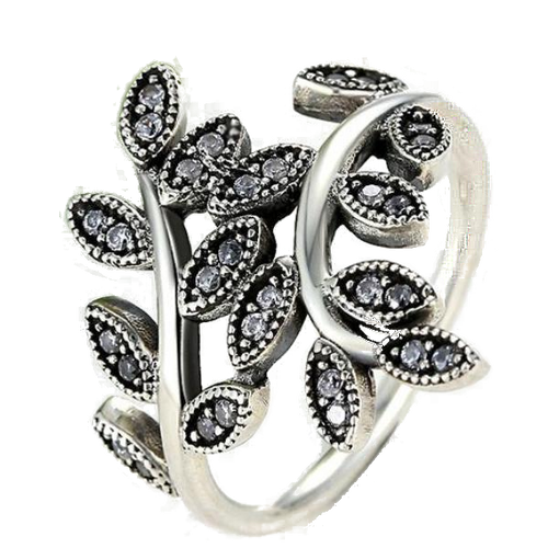 Olive Branch Ring with CZ Leaves