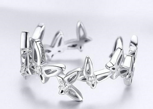 925 Sterling Stackable Butterfly Open Finger Ring