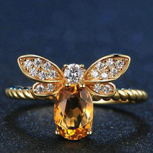 Load image into Gallery viewer, Bee Natural Oval Citrine .925 Sterling Silver Ring with 14K Gold Plate