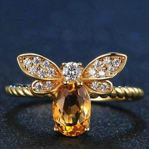 Bee Natural Oval Citrine .925 Sterling Silver Ring with 14K Gold Plate