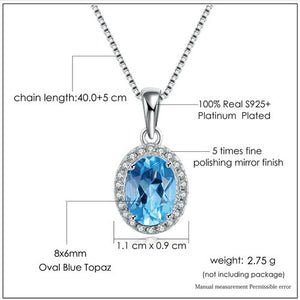 Oval Blue Topaz  925 Sterling Silver Chain Pendant Necklace