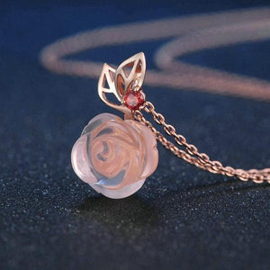 Pink Rose Flower 9mm Rose Quartz Chain Necklace 925 Sterling Silver