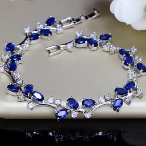 Royal Blue Cubic Zircon 925 Sterling Bracelets Bangle Six Colors Jewelry