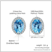 Load image into Gallery viewer, Oval Blue Topaz 925 Sterling Silver Stud Earrings