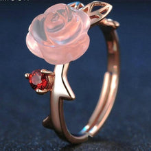 Load image into Gallery viewer, Pink Rose Flower Quartz Ring 925 Sterling Silver Rose Gold
