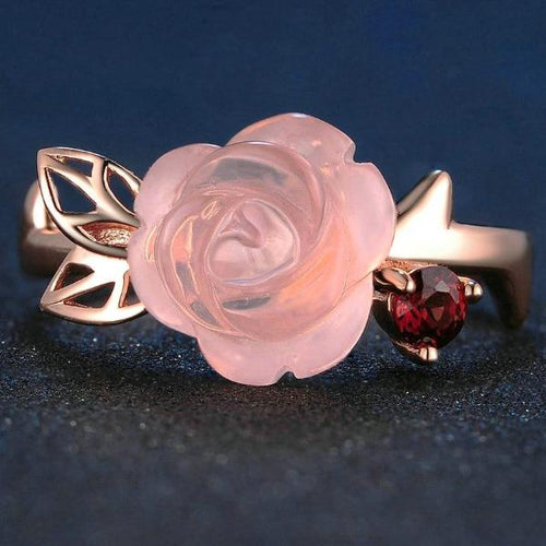 Pink Rose Flower Quartz Ring 925 Sterling Silver Rose Gold