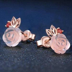 Rose Flower 9mm Pink Rose Quartz 925 Sterling Silver Stud Earrings
