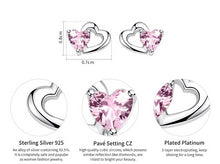 Load image into Gallery viewer, 925 Sterling Silver Double Heart to Heart Pink CZ Stud Earrings