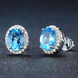 Oval Blue Topaz 925 Sterling Silver Stud Earrings
