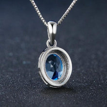 Load image into Gallery viewer, Oval Blue Topaz  925 Sterling Silver Chain Pendant Necklace