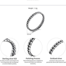 Load image into Gallery viewer, 925 Sterling Silver Stackable Ring Wheat Design