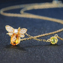Load image into Gallery viewer, Citrine Bee 925 Sterling Silver Pendant Necklace 14K Plated