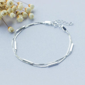 925 Sterling Silver Bar Round Stick Double Bracelet Jewelry