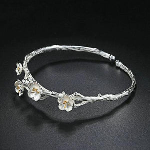 925 Plum Daisy Flower Bracelet Bangle Jewelry