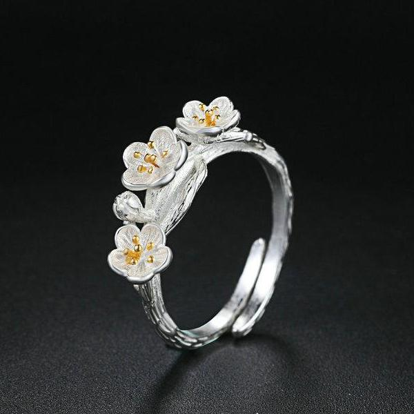 Two Tone Plum Flower S925 Sterling Ring