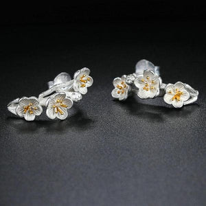 Flower Wreath 925 Sterling Silver Stud Earrings