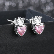 Load image into Gallery viewer, 925 Sterling Silver Pink Heart Stud Crown Earrings