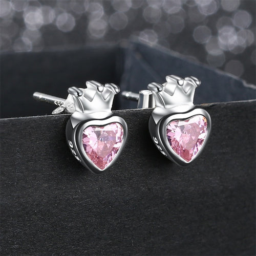 925 Sterling Silver Pink Heart Stud Crown Earrings