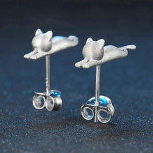 Load image into Gallery viewer, Little Kitten Cat 925-Sterling Sliver Stud Earrings