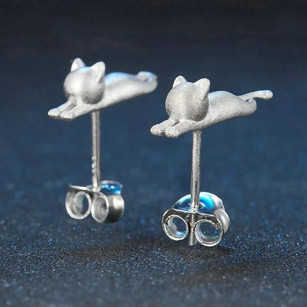 Little Kitten Cat 925-Sterling Sliver Stud Earrings