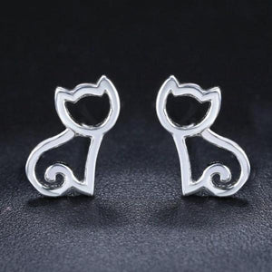 Hollow Cat 925-Sterling Silver Stud Earrings