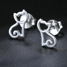 Load image into Gallery viewer, Hollow Cat 925-Sterling Silver Stud Earrings
