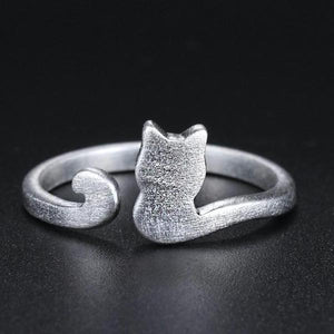 Cute Little Kitten Cat 925-Sterling-Silver Adjustable Ring
