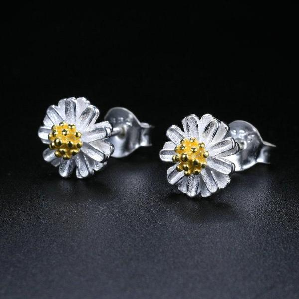 Chrysanthemum  Daisy Flower 925 Sterling Silver Earrings
