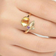 Load image into Gallery viewer, Flower 7mm Natural Oval Citrine .925 Sterling Silver Ring with 14K Yellow Plate