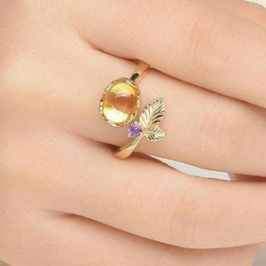 Flower 7mm Natural Oval Citrine .925 Sterling Silver Ring with 14K Yellow Plate