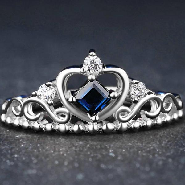 Princess Cut Sapphire .925 Sterling Silver Heart Shape Ring