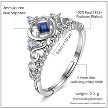Load image into Gallery viewer, Princess Cut Sapphire .925 Sterling Silver Heart Shape Ring
