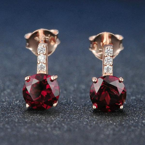 Red Garnet 925 Sterling Silver Stud Earrings